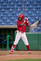 Clearwater Threshers Luis García (5) bats during a game against the Dunedin Blue Jays on May 20, 2021 at BayCare Ballpark in Clearwater, Florida.  (Mike Janes/Four Seam Images)