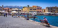 Travel Art Print Photograph. Colourful Greek fishing port located in Chania, Crete, Greece.