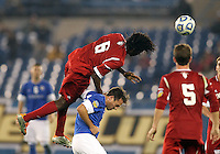 HOOVER, AL - DECEMBER 07, 2012:  Femi Hollinger-Janzen (6) of the University of Indiana leaps over Jose Ribas (8) of Creighton University during an NCAA 2012 Men's College Cup semi-final match, at Regions Park, in Hoover , AL, on Friday, December 07, 2012. Indiana won 1-0.