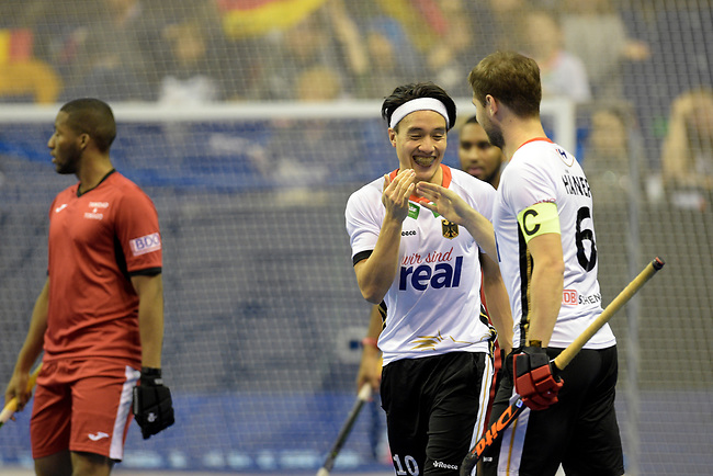Berlin, Germany, February 09: During the FIH Indoor Hockey World Cup Pool A group match between Germany (white) and Trinidad and Tobago(red) on February 9, 2018 at Max-Schmeling-Halle in Berlin, Germany. Final score 10-2. (Photo by Dirk Markgraf / www.265-images.com) *** Local caption *** Danny NGUYEN #10 of Germany, Martin HAENER #6 of Germany