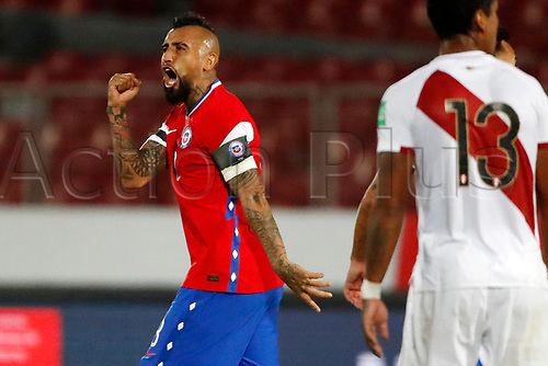 13th November 2020; National Stadium of Santiago, Santiago, Chile; World Cup 2020 Football qualification, Chile versus Peru;  Arturo Vidal of Chile celebrates his second goal in the 35th minute 2-0