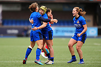 (L-R) Sofia Stefan, Beatrice Rigoni and Beatrice Capomaggi of Italy celebrate at full time during the Women's six nations championship match between the Wales and Italy at Cardiff Arms Park in Cardiff, Wales, UK. Sunday 02 February 2020