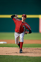 Altoona Curve starting pitcher Austin Coley (17) delivers a pitch during a game against the Binghamton Rumble Ponies on May 17, 2017 at NYSEG Stadium in Binghamton, New York.  Altoona defeated Binghamton 8-6.  (Mike Janes/Four Seam Images)