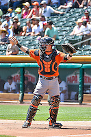 Tyler Heineman (8) of the Fresno Grizzlies during the game against the Salt Lake Bees in Pacific Coast League action at Smith's Ballpark on June 14, 2015 in Salt Lake City, Utah.  (Stephen Smith/Four Seam Images)