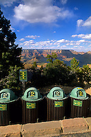 Recycling bins at South Rim of Grand Canyon beautiful image in Arizona US