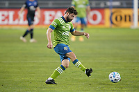 SAN JOSE, CA - OCTOBER 18: Joao Paulo #6 of the Seattle Sounders during a game between Seattle Sounders FC and San Jose Earthquakes at Earthquakes Stadium on October 18, 2020 in San Jose, California.