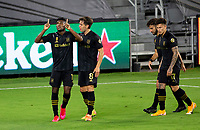 LOS ANGELES, CA - SEPTEMBER 02: Jose Cifuentes #11 of the Los Angeles Football Club scores a goal and celebrates during a game between San Jose Earthquakes and Los Angeles FC at Banc of California stadium on September 02, 2020 in Los Angeles, California.