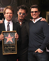 LOS ANGELES - JUN 24:  Jerry Bruckheimer, Johnny Depp, Tom Cruise at  the Jerry Bruckheimer Star on the Hollywood Walk of Fame  at the El Capitan Theater on June 24, 2013 in Los Angeles, CA