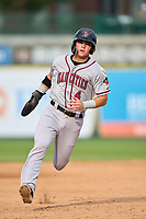 Quad Cities River Bandits Michael Massey (4) running the bases during a game against the South Bend Cubs on August 20, 2021 at Four Winds Field in South Bend, Indiana.  (Mike Janes/Four Seam Images)