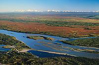 Aerial view of the Tanana River, Tanana valley flats, Alaska mountain range Fairbanks, Alaska.