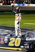 NASCAR XFINITY Series<br /> O'Reilly Auto Parts 300<br /> Texas Motor Speedway<br /> Fort Worth, TX USA<br /> Saturday 4 November 2017<br /> Erik Jones, GameStop Call of Duty WWII Toyota Camry celebrates his win<br /> World Copyright: Russell LaBounty<br /> LAT Images