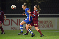 Chloe Vande Velde (10) of AA Gent and Fleur Pauwels (63) of KRC Genk pictured during a female soccer game between  AA Gent Ladies and Racing Genk on the 12 th matchday of the 2020 - 2021 season of Belgian Scooore Womens Super League , friday 29 th of January 2021  in Oostakker , Belgium . PHOTO SPORTPIX.BE | SPP | DIRK VUYLSTEKE