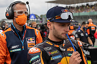 29th August 2021; Silverstone Circuit, Silverstone, Northamptonshire, England; MotoGP British Grand Prix, Race Day; Red Bull KTM Factory Racing rider Brad Binder on his KTM RC16 on the grid