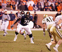UVa's Brandon Albert playing football for the Virginia Cavaliers playing in Scott Stadium at the University of Virginia in Charlottesville, VA. Photo/Andrew Shurtleff