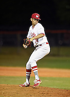 Lake Mary Rams pitcher Todd Peterson (34) during a game against the Lake Brantley Patriots on April 2, 2015 at Allen Tuttle Field in Lake Mary, Florida.  Lake Brantley defeated Lake Mary 10-5.  (Mike Janes/Four Seam Images)