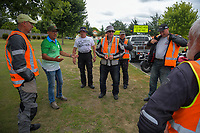 Race director Jorge Sandoval talks to the road management team. Stage Four - Te Piki - The Climb. 2019 Grassroots Trust NZ Cycle Classic UCI 2.2 Tour from Cambridge, New Zealand on Saturday, 26 January 2019. Photo: Dave Lintott / lintottphoto.co.nz