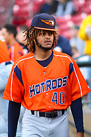 Bowling Green Hot Rods pitcher Miguel Lara (40) in the dugout during a Midwest League game against the Cedar Rapids Kernels on May 2, 2019 at Perfect Game Field in Cedar Rapids, Iowa. Bowling Green defeated Cedar Rapids 2-0. (Brad Krause/Four Seam Images)