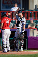 Richmond Flying Squirrels catcher Joey Bart (33) during an Eastern League game against the Erie SeaWolves on August 28, 2019 at UPMC Park in Erie, Pennsylvania.  Richmond defeated Erie 6-4 in the first game of a doubleheader.  (Mike Janes/Four Seam Images)