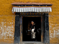 The giant prayer wheel is kept inside this building near Yaowang Mountain near Lhasa the site also for the thousand images of Buddha