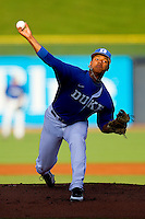 Duke Blue Devils starting pitcher Marcus Stroman #7 delivers a pitch to the plate against the Virginia Cavaliers at Durham Bulls Athletic Park on April 20, 2012 in Durham, North Carolina.  (Brian Westerholt/Four Seam Images)
