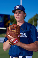 AZL Brewers Blue Keegan McCarville (16) poses for a photo before an Arizona League game against the AZL Athletics Gold on July 2, 2019 at American Family Fields of Phoenix in Phoenix, Arizona. AZL Athletics Gold defeated the AZL Brewers Blue 11-8. (Zachary Lucy/Four Seam Images)