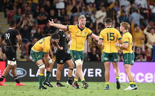 7th November 2020, Brisbane, Australia; Tri Nations International rugby union, Australia versus New Zealand;  Wallaby players celebrate their win