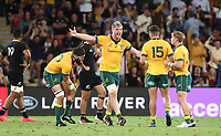 7th November 2020, Brisbane, Australia; Tri Nations International rugby union, Australia versus New Zealand;  Wallaby players celebrate their win