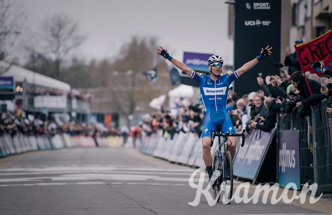 Zdeněk ŠTYBAR (CZE/Deceuninck-Quick Step) wins the 74th Omloop Het Nieuwsblad 2019 <br /> <br /> Gent to Ninove (BEL): 200km<br /> <br /> ©kramon