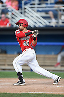 Batavia Muckdogs outfielder Victor Castro (40) at bat during a game against the Williamsport Crosscutters on July 27, 2014 at Dwyer Stadium in Batavia, New York.  Batavia defeated Williamsport 6-5.  (Mike Janes/Four Seam Images)