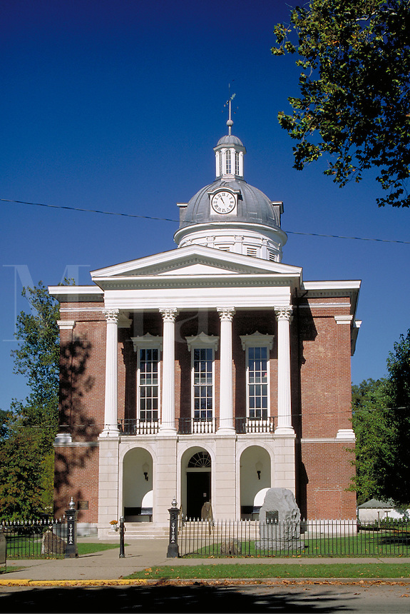 Switzerland County Courthouse, completed in 1864, Classic Revival-style building located in a town of Swiss heritage on the Ohio River. Vevay Indiana.