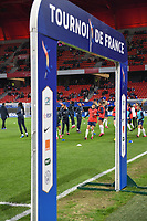 20200307  Valenciennes , France : French team during the warming up of the female football game between the national teams of France and Brasil on the second matchday of the Tournoi de France 2020 , a prestigious friendly womensoccer tournament in Northern France , on Saturday 7 th March 2020 in Valenciennes , France . PHOTO SPORTPIX.BE | DIRK VUYLSTEKE