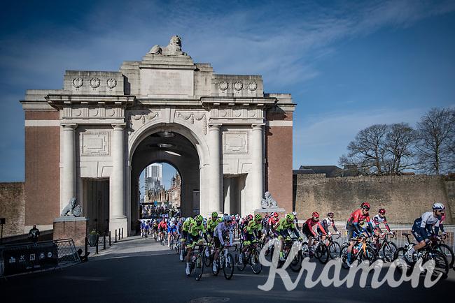 Race start under the Menin Gate War Memorial in Ypres<br /> <br /> 83rd Gent-Wevelgem - in Flanders Fields (ME - 1.UWT)<br /> 1 day race from Ieper to Wevelgem (BEL): 254km<br /> <br /> ©kramon