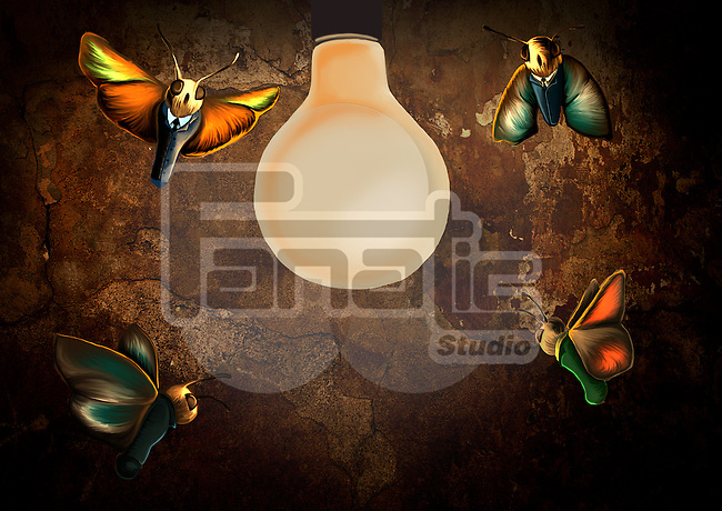 Conceptual illustration of insects surrounding light bulb depicting attraction