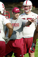 Steve Morton coaches on the first day of spring practice on April 3, 2002 at Stanford.<br />Photo credit mandatory: Gonzalesphoto.com