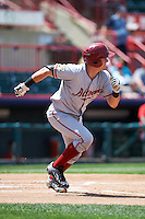 Altoona Curve catcher Reese McGuire (7) runs to first during a game against the Erie SeaWolves on July 10, 2016 at Jerry Uht Park in Erie, Pennsylvania.  Altoona defeated Erie 7-3.  (Mike Janes/Four Seam Images)