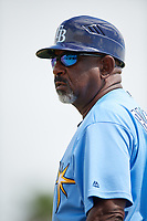 Tampa Bay Rays coach Skeeter Barnes (26) during an Instructional League game against the Baltimore Orioles on October 2, 2017 at Ed Smith Stadium in Sarasota, Florida.  (Mike Janes/Four Seam Images)