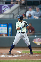 Ricky Aracena (12) of the Wilmington Blue Rocks at bat against the Winston-Salem Dash at BB&T Ballpark on April 17, 2019 in Winston-Salem, North Carolina. The Blue Rocks defeated the Dash 2-1. (Brian Westerholt/Four Seam Images)