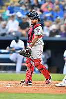 Greenville Drive catcher Alan Marrero (1) during a game against the Asheville Tourists on May 18, 2021 at McCormick Field in Asheville, NC. (Tony Farlow/Four Seam Images)