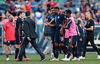 DENVER, CO - JUNE 3: Jordan Siebatcheu #16 of the United States celebrates during a game between Honduras and USMNT at EMPOWER FIELD AT MILE HIGH on June 3, 2021 in Denver, Colorado.