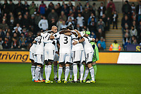 Thursday 28 November  2013  Pictured:Swansea City Huddle<br /> Re:UEFA Europa League, Swansea City FC vs Valencia CF  at the Liberty Staduim Swansea