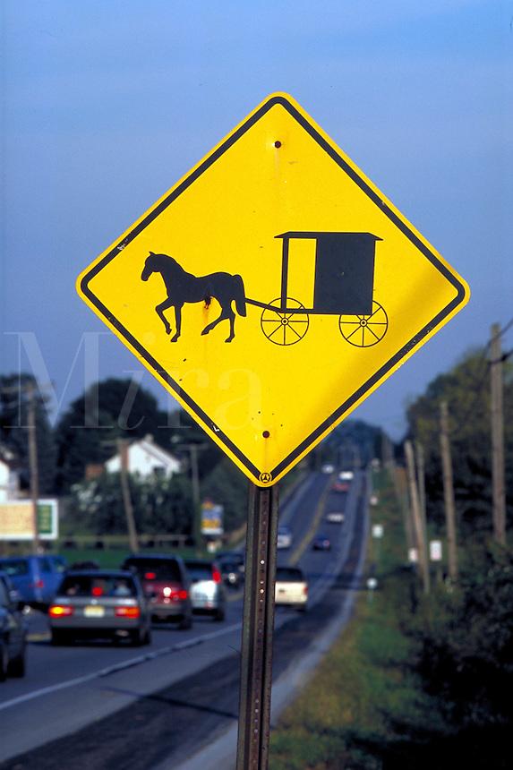 Horse drawn buggie caution sign. Strasburg Pennsylvania USA Lancaster County.