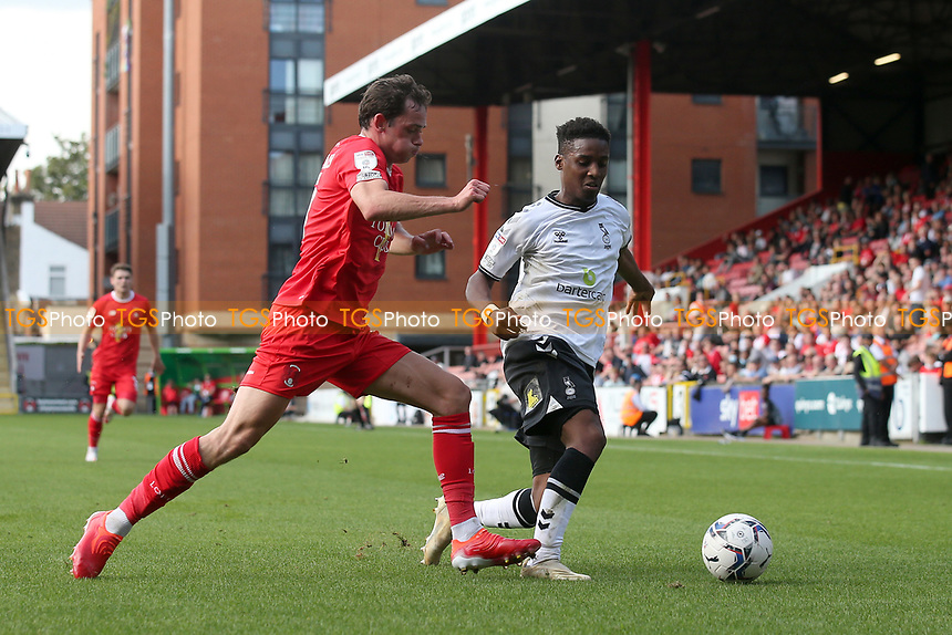 Theo Archibald of Leyton Orient and Dylan Fage of Oldham Athletic during Leyton Orient vs Oldham Athletic, Sky Bet EFL League 2 Football at The Breyer Group Stadium on 11th September 2021