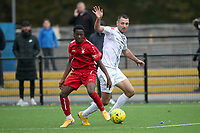 Manny Ogunrinde of Aveley and Adrian Cascaval of Romford during Romford vs Aveley, Pitching In Ishmian League North Division Football at Mayesbrook Park on 26th September 2020
