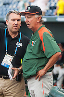 Miami Hurricanes head coach Jim Morris before the game against the Florida Gators in the NCAA College World Series on June 13, 2015 at TD Ameritrade Park in Omaha, Nebraska. Florida defeated Miami 15-3. (Andrew Woolley/Four Seam Images)