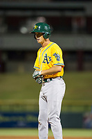 AZL Athletics first baseman Jake Lumley (31) singles in the sixth inning during a game against the AZL Cubs on August 9, 2017 at Sloan Park in Mesa, Arizona. AZL Athletics defeated the AZL Cubs 7-2. (Zachary Lucy/Four Seam Images)