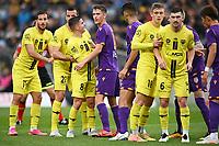 30th May 2021; Auckland, New Zealand;  Cam Devlin and Callum Timmins argue as players await a free kick. Wellington Phoenix versus Perth Glory, A-League football at Eden Park.