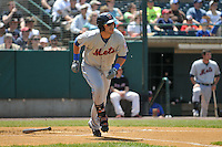 Matt Clark (4) of the Binghamton Mets runs to first base during a game against the New Britain Rock Cats at New Britain Stadium on June 1, 2014 in New Britain, Connecticut.  New Britain defeated Binghamton 6-1.  (Gregory Vasil/Four Seam Images)