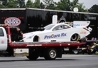 Sept. 17, 2011; Concord, NC, USA: NHRA funny car driver Melanie Troxel during qualifying for the O'Reilly Auto Parts Nationals at zMax Dragway. Mandatory Credit: Mark J. Rebilas-