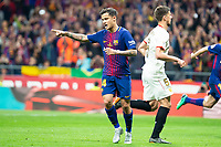 FC Barcelona Phillippe Coutinho celebrating a goal during King's Cup Finals match between Sevilla FC and FC Barcelona at Wanda Metropolitano in Madrid, Spain. April 21, 2018. (ALTERPHOTOS/Borja B.Hojas)