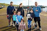 Chloe, Jamie and Aidan Murphy, Leah and Michael Moran, Darragh and Helen Murphy and Milo the dog enjoying a stroll in Dingle on Sunday.